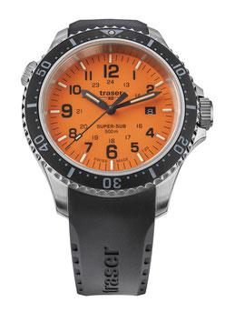Abbildung der Uhr mit orangem Display.