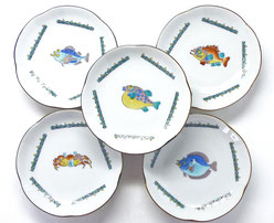 九谷焼通販 おしゃれ 皿揃え 小皿 魚紋絵変り 4寸梅型 裏絵