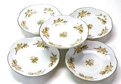 九谷焼通販 おしゃれ 皿揃え 小皿 しだれ桜 4寸梅型 裏絵