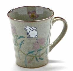 九谷焼通販 おしゃれなマグカップ マグ 白兎なでしこ&ソメイヨシノ 裏絵 正面の図
