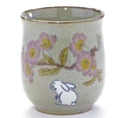 九谷焼通販 おしゃれなお湯呑 湯飲み ゆのみ茶碗 大 白兎ソメイヨシノ 中裏絵