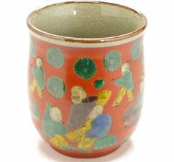 九谷焼通販 おしゃれなお湯呑 湯飲み ゆのみ茶碗 大 木米写し 裏絵