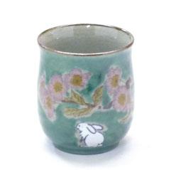 九谷焼通販 おしゃれなお湯呑 湯飲み ゆのみ茶碗 大 白兎ソメイヨシノ緑塗り 裏絵