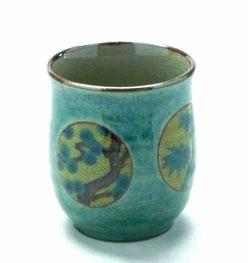 九谷焼通販 おしゃれなお湯呑 湯飲み ゆのみ茶碗 小 丸紋松竹梅緑塗り 裏絵