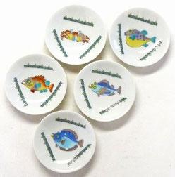 九谷焼通販 おしゃれ 皿揃え 小皿 魚紋絵変り 3寸 花弁型