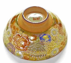 九谷焼通販 おしゃれな飯碗 茶碗 ご飯茶碗 小 加賀のお殿様・お姫様気分(金花詰)
