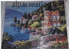 broderie diamant paysage italien