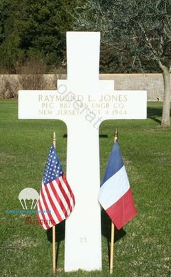 Raymond JONES, killed in action on the 4th of october 1944 in the Maritims Alps. burried at Draguignan Rhone cemetery
