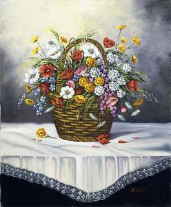 Cuadro con una cesta de flores sobre una mesa