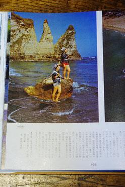 御宿の海女。同じく紹介されている白浜の海女との着ているものの違いを見比べてみるのも面白いでしょう