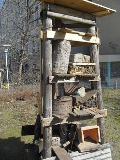 Hier entsteht ein Wildbienen-Nisthifen-Stand.