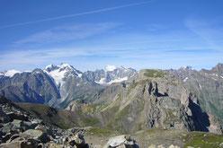 Col du chardonnet, vue sur le massif des Ecrins