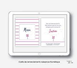 Carte de remerciements naissance fille numérique-carte de remerciements fille électronique-fichier Pdf-moulin à vent-à imprimer soi même-à envoyer par mail -à envoyer par sms