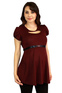 burgundy maternity blouse