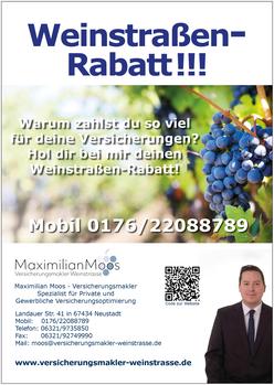 Bild Plakat zum Weinstraßen-Rabatt Maximilian Moos, Versicherungsmakler Neustadt an der Weinstraße