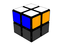 Figure 1b: Final situation of the cube after FL step. Blue and orange faces.