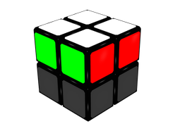 Figure 1a: Final situation of the cube after FL step. Green and red faces.
