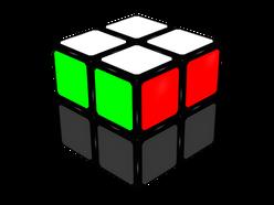 Figura 1a: Estado final del cubo tras el paso FL. Caras verde y roja.