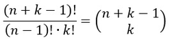 Formel für die Berechnung der Anzahl an möglichen Ereignissen mit zurücklegen oder Mehrfachauswahl