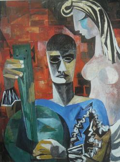 André Ficus:  Musiker und Mädchen  (Gargilesse)     Öl auf Leinwand  • 1963 • 130 cm x 97 cm