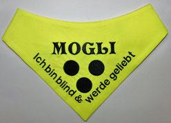 Blinden Logo,blind dog,Halsband, Loop, Blinder Hund, Blindenhund, Halstuch, Blindenhalstuch, Blindenbegleithund, blinder Hund, Halstuch für blinden Hund,neongelb