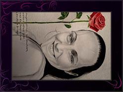 portraitzeichnung als liebeserklärung mit gedicht und rose