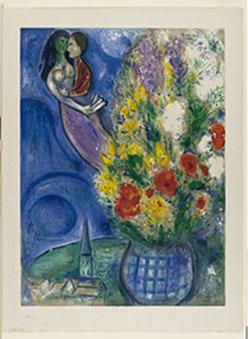 Marc Chagall Coppia di amanti e fiori, 1949 Litografia a colori, 64,9x48,1 cm Dono di Ida Chagall, Parigi © Chagall ® by SIAE 2015