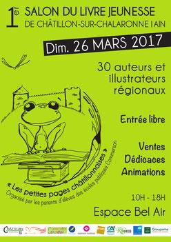 Affiche du Salon du Livre de Châtillon-sur-Chalaronne 2017 avec l'illustratrice Cloé Perrotin