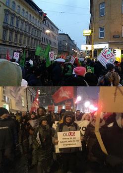 Großdemo zum 1. Jahrestag der Regierung * Breiter Protest gegen Sozialabbau * Bild: Uschi Göltl (oben), Gerhard  Pušnik (unten)