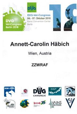 DVG Kongress 2018 (ZZWRAF) - Teilnahme Häbich - Vogelmedizin, Reptilienmedizin