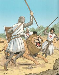 La chasse au lion - Les voyages de Jhen - Les Templiers - Ed. Casterman. Temple de Paris