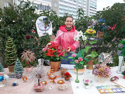 Выставка цветов и деревьев из бисера в День города Верхняя Пышма - 2015.