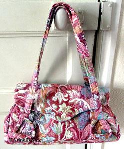 Grand sac, sac à bandoulière, besace, peinture, Armelle Soie, fabriqué en France, fait main en Bretagne,artisanal, artisanat,sac à main,fait main,original, fabriqué en France