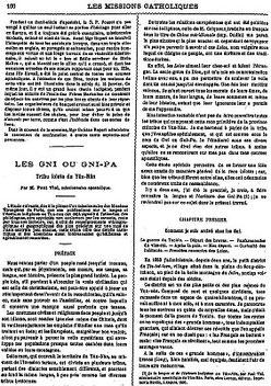 Couverture. Paul VIAL (1855-1917) : Les Gni ou Gni-Pa, tribu lolote du Yun-nan. Les Missions catholiques, Lyon, tome XXV, 1893; tome XXVI, 1894.