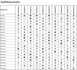 Qualifikationsmatrix - Excel Vorlage