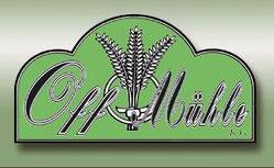 Logo der Offmühle mit Getreide vor grünem Hintergrund