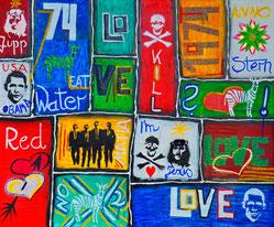 Zeitfenster, Jesus, Mafia, Divo Santino, 1974, Graffiti, Love, Wasser, Red, Liebe, Zebra, essen, Grün, Hoffnung, Kill, Tod, sterben, Stern, Water, USA, Obama, Jupp, Anno, Dato, Zeitsprung, Vergangenheit, einzelne Fenster
