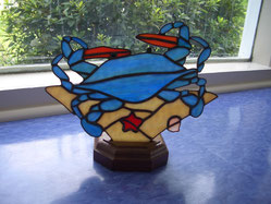 Blue Crab on the Beach Stained Glass Accent Lamp