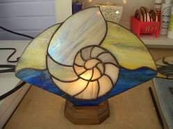Nautilus shell stained glass lamp