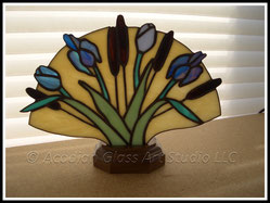 Blue Tulip and Iris Stained Glass Accent Lamp