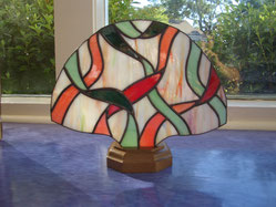ribbon stained glass fan lamp accent night light