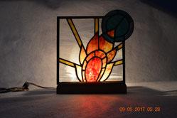 Art Deco Sun Art Glass Lamp