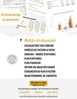 formation Kit de démarrage modèles de documents à télécharger Académie des Autonomes soutien aux travailleurs autonomes du Québec
