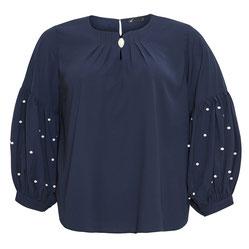 Bluse mit Ballonärmel marineblau in Übergrößen
