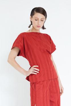extravagant drapierte Bluse aus fairer cremeweißer Baumwolle