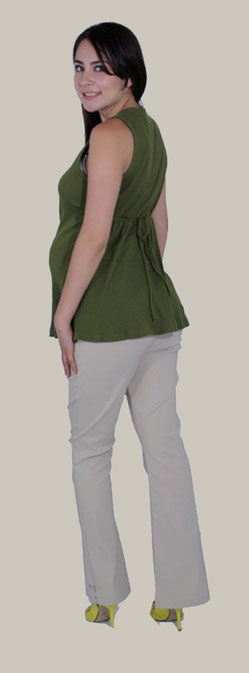 green sleeveless maternity top