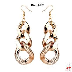 Boucles d'oreilles pendantes à gros maillons dorés