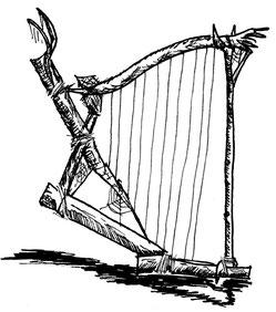 Die stumme Gedankenspinnerin, zimmert aus Holz und Seide flinkerhand eine Harfe zusammen, um sich zu verständigen