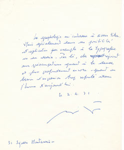 François *Billetdoux lettre autographe signée graphologie