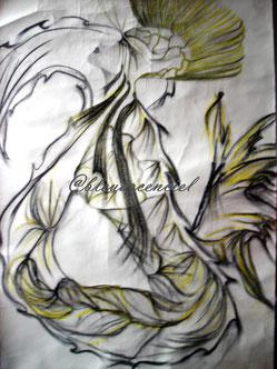 1985 Dessin aux pastels  sur feuille 50/60cm